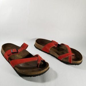 Birkenstock Papillio Red Leather Strappy Sandals